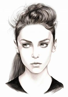 Artist: Hyungho Lee {contemporary art beautiful female head woman face portrait drawing}