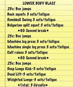 Great lower-body workout for the gym. I did this workout yesterday and burned over 600 calories in an hour. I do each exercise until I cant do them anymore then move on to the next exercise. Each circuit starts with   A blast of cardio. Thats the best way to spike your heart rate and burn more fat.