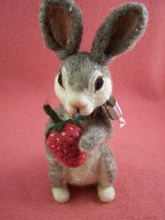 Bunny with Strawberry Needle Felt