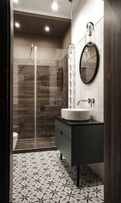 54 Premium Modern White Bathroom with White Cabinets Ideas - HomeCNB Gray Shower Tile, Grey Bathroom Tiles, Grey Bathrooms, Bathroom Flooring, Small Bathroom, Bathroom Ideas, Mirror Bathroom, Bathroom Toilets, Modern White Bathroom