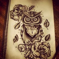 Cute owl tattoo idea