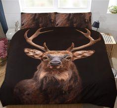 Zwart 2 persoons dekbedovertrek met indrukwekkende print van een levensechte hert. Erg mooi! Het overtrek voelt soepel aan en zorgt voor een ideale nachtrust. Prints, Animals, Animales, Animaux, Animal, Animais