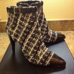 Chanel Black White Tweed CC Booties