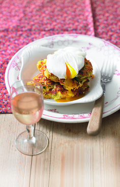 This crispy vegetable fritters recipe belong with soft poached eggs - a marriage made in heaven and a cheap vegetarian dinner.