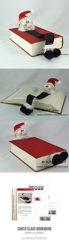 Santa Claus Bookmark crochet pattern by IlDikko - Linda Boyd-Lind - Photo Diy Bookmarks, Crochet Bookmarks, Crochet Books, Crochet Gifts, Christmas Crochet Patterns, Holiday Crochet, Knitting Projects, Crochet Projects, Crochet Stitches