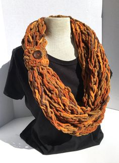 Crochet Patterns Arm Kay& Crochet Arm Knit Crochet Bulky Rope Scarf In Fall Leaves with Button Crochet Scarves, Knit Crochet, Bernat Yarn, Arm Knitting, Fall Leaves, Covered Buttons, Crochet Patterns, Arms, Cowls