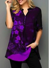 Notch Neck Blossom Print Button Detail Blouse Women Clothes For Cheap, Collections, Styles Perfectly Fit You, Never Miss It! Trendy Tops For Women, Blouses For Women, Deep Purple, Purple Tops, Purple Outfits, Casual Tops, Stylish Tops, Black Blouse, Printed Blouse