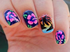 I started with a base of Salon Perfect Varisty Blue on all of my fingers except for my ring finger. I then painted the flowers on using white acrylic paint, and then filled them in with Salon Perfect Perky Pink and Salon Perfect Fired Up Fuchsia. I added some green leaves around the flower and little details to the flower itself. I love the way they turned out! For the gradient sunset and palm tree. #prom