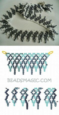 Best Seed Bead Jewelry 2017 Free pattern for necklace Shade of Grey Seed Bead Tutorials Beaded Necklace Patterns, Seed Bead Patterns, Bracelet Patterns, Beading Patterns, Seed Bead Necklace, Seed Bead Bracelets, Bead Earrings, Bead Jewellery, Diy Jewelry