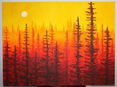"MaryElizabethArts - ♦ How to Paint ""Forest at Dawn"" Painting in 5 Easy Steps"