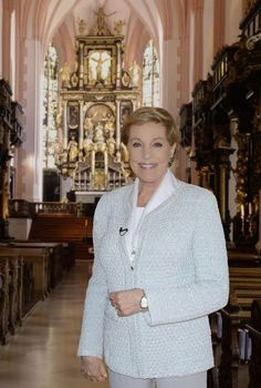 Julie Andrews in Mondsee Cathedral, the church in which her character of Maria married Captain von Trapp