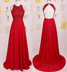Charming O-Neck Beading A-Line Red Floor-Length Chiffon Backless Prom  Dresses uk PM129 03d4cf2afc7c