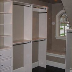 Master Closet Ideas. Instead of drawers at bottom you could do shoe racks/shelves. I love the small bench idea.