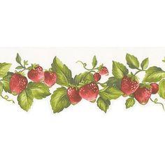 "Norwall Wallcoverings Inc Fresh Kitchens V 32.7' x 20.5"" Die-cut Strawberry Border Wallpaper"