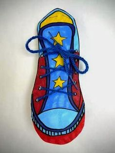 Sneakers come in such a fascinating range of designs, colors and styles. This seemed to me to be the perfect vehicle for a kid friendly jour. Tennis Lessons For Kids, Education And Literacy, Superhero Room, Library Art, Activities For Teens, Sneaker Art, Arts Ed, Shoe Art, Inspiration For Kids