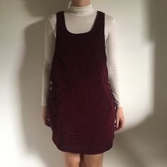 4c62a73da7a Beautiful maroon-coloured vintage corduroy pinafore. on each - Depop Maroon  Color