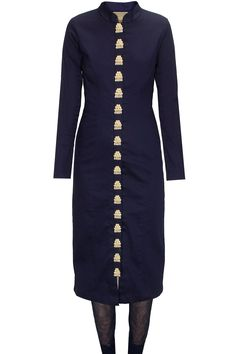 Navy blue zardosi embroidered kurta set with off white dupatta available only at Pernia's Pop-Up Shop.