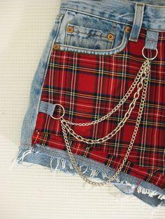 DIY shorts using plaid fabric