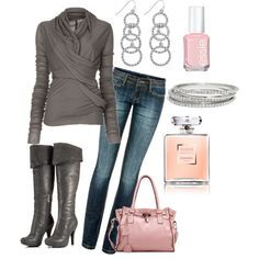 Gray with a touch of pink- I love those boots, and that purse!