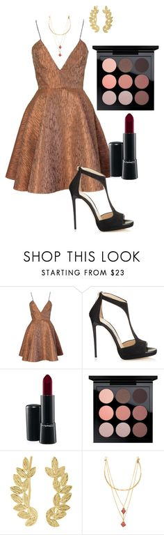 """""""Bronze Beauty"""" by houseofoliverboutique on Polyvore featuring Joana Almagro, Jimmy Choo, MAC Cosmetics, Eddera and Vanessa Mooney"""