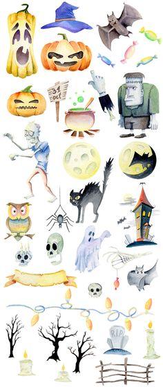Watercolor Halloween Set by Kotulska on @creativemarket