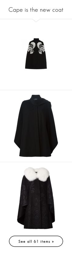 """""""Cape is the new coat"""" by kelly-m-o ❤ liked on Polyvore featuring outerwear, jackets, stella mccartney, wool cape, cape coat, wool cape coat, stella mccartney cape, coats, black and akris"""