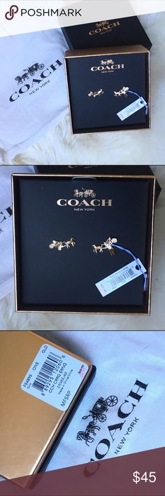 Gold coach carriage earring NWT. Will comes with box and dustbag. Coach Jewelry Earrings