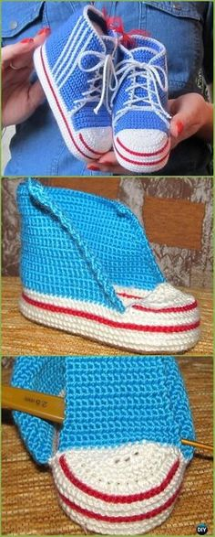 Crochet High Top Baby Sneakers Free Pattern - Crochet Sneaker Slippers Free Patterns