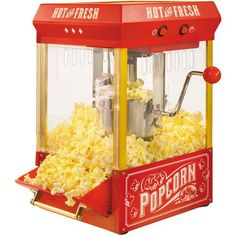 Nostalgia KPM200 Vintage Collection 2.5-Ounce Kettle Popcorn Popper ($65) ❤ liked on Polyvore featuring home, kitchen & dining, small appliances, mini popcorn maker, red tea kettle, mini popcorn machine, mini kettle and popcorn cart