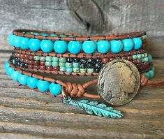 Southwestern Style Beaded Wrap Bracelets for Women / Gift for Her / Native American Style Turquoise Leather Bracelet for Men - Armband İdeas Bracelets Diy, Beaded Bracelets Tutorial, Beaded Wrap Bracelets, Bohemian Bracelets, Handmade Bracelets, Fashion Bracelets, Boho Jewelry, Beaded Jewelry, Handmade Jewelry