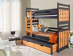 Bunk Bed SAMBOR, Children Triple Bunk Bed - Pine Wood - 24 Colours - 4 Types of Mattresses Available - Size UK Standard x x - Prima Furniture Trundle Bed Mattress, Bunk Bed With Trundle, Mattresses, Bunk Beds Uk, Cool Bunk Beds, Full Size Murphy Bed, Murphy Bed Plans, Triple Sleeper Bunk Bed, Murphy-bett Ikea