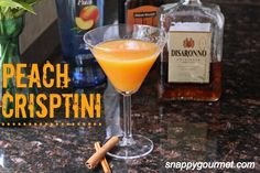 Peach Crisptini - The classic peach crisp dessert in cocktail form! (@snappygourmet.com)