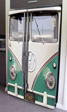 VW bus decal for side by side refrigerator Volkswagen Bus, Vw T1, Vw Camper, Paint Refrigerator, Refrigerator Wraps, Combi Vw, Vw Cars, Transporter, Ford Transit