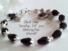 Black Onyx Teardrops and Hearts Pet Loss Angel Wings Bracelet $45  by FaithExpressions