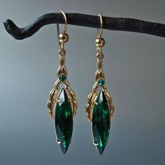 Czech Emerald Green Marquis Shape Drops by prettyinprague on Etsy, $38.00