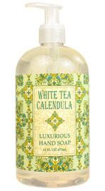 White Tea Calendula Shea Butter Liquid Soap by Greenwich Bay Trading Company. Luxurious spa liquid hand soap enriched with shea butter, cocoa butter, white tea extracts & natural extracts in fresh botanical scents. Liquid Hand Soap, Hand Lotion, Body Lotion, Natural Essential Oils, Natural Oils, Cocoa Butter, Shea Butter, Orange Blossom Honey, Organic Aloe Vera
