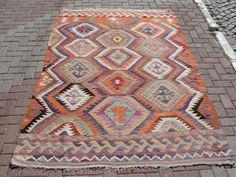 VINTAGE Turkish Antalya Kilim Rug Carpet Handwoven by misterpillow, $868.00