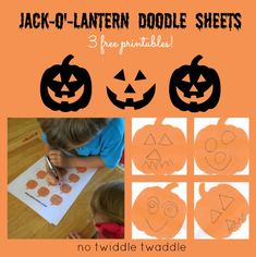 Jack-o'-Lantern Doodle Sheets {3 free printables!} by No Twiddle Twaddle