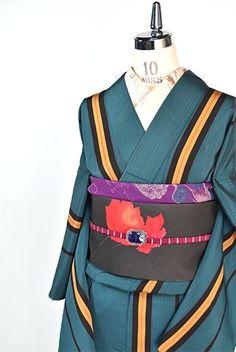 錆浅葱縞小粋なアンティーク袷着物 - アンティーク着物・リサイクル着物のオンラインショップ 姉妹屋