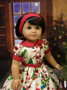Santa Baby - vintage style dress for American Girl doll by cupcakecutiepie on Etsy https://www.etsy.com/listing/115186171/santa-baby-vintage-style-dress-for