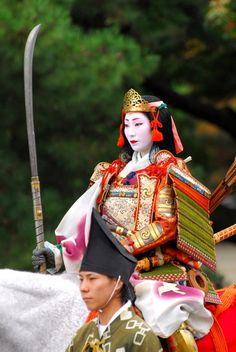 Lady warrior at Jidai-Matsuri Festival,  in Kyoto, Japan - 時代祭, 京都, 日本