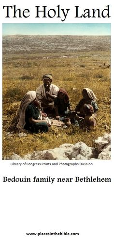 A century old photo, showing a Bedouin family from the area of Bethlehem, in the Holy Land.