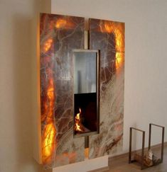 22 Unique Modern Fireplaces which Do Double Duty Creating Warmth and Beauty modern fireplace design and home decorating ideas Contemporary Fireplace Designs, Contemporary Bedroom Furniture, Contemporary Interior Design, Contemporary Architecture, Modern Contemporary, Modern Fireplaces, Contemporary Building, Contemporary Cottage, Contemporary Apartment