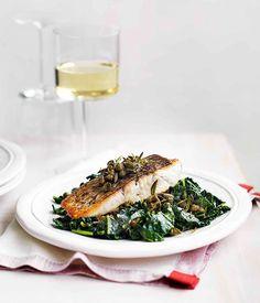 Australian Gourmet Traveller recipe for Barramundi with cavolo nero and capers Kale Recipes, Fish Recipes, Seafood Recipes, Dinner Recipes, Healthy Recipes, Seafood Dishes, Healthy Food, Barramundi Fish Recipe, Edible Food