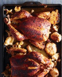 Paprika-Rubbed Chickens with Roasted Garlic