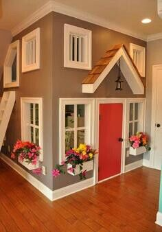 I ABSOLUTELY love this!!! This is a great idea! You see lots of outdoor playhouses, but inside!? I'm obsessed!