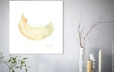 watercolor feather print, feather wall art, original painting, handmade watercolor, yellow feather beige, clear colors, baby room wall art 5,40 $ watercolor, yellow feather beige, clear colors, baby room wall art