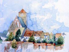 Musik am Nachmittag in Rostock | Stadtmauer bei der Nikolaikirche (c) Aquarell von Frank Koebsch