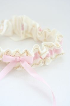 Custom Girlish Blush and Gold Lace Wedding Garter-by The Garter Girl