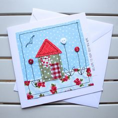 New Home Card - Handmade - Machine Embroidered - Blue House - Personalised Insert - Welcome to your cosy new home Freehand Machine Embroidery, Free Motion Embroidery, Fabric Postcards, Fabric Cards, New Home Cards, House Of Cards, Homemade Greeting Cards, Homemade Cards, Creative Gift Wrapping